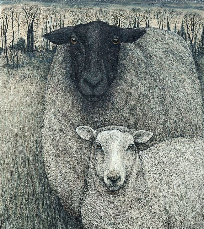 Seren Bell, Black-faced Ewe And Lamb