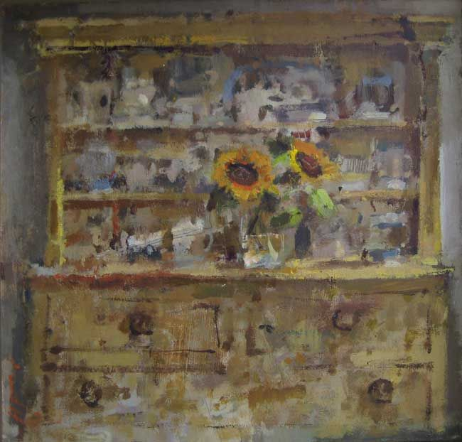 Andrew Douglas-Forbes, Sunflowers on my Favourite Yellow Dresser