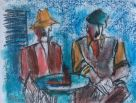 Mike Jones, Couple At Table (mounted, unframed)