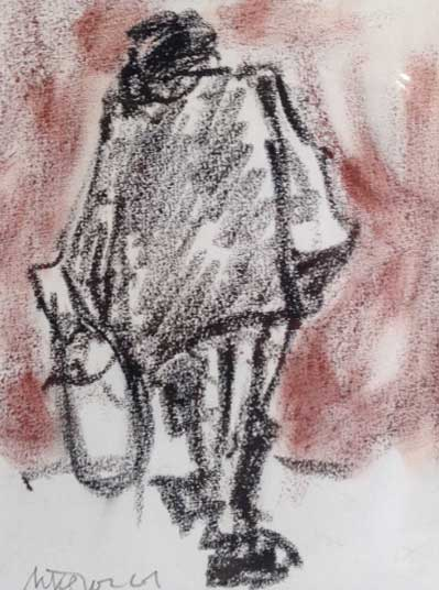 Mike Jones, Lady With Bags (mounted, unframed)