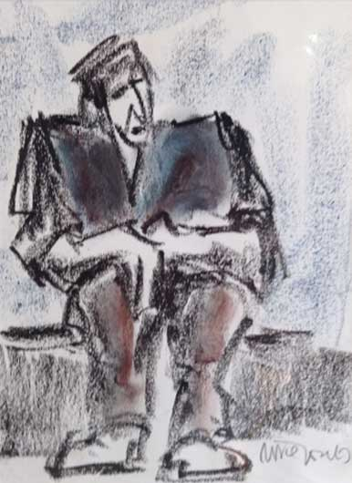 Mike Jones, Seated Worker (mounted, unframed)
