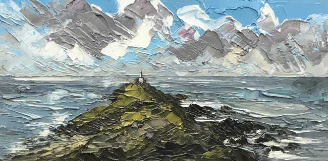 Martin Llewellyn, Stormy Sky, Mumbles Lighthouse