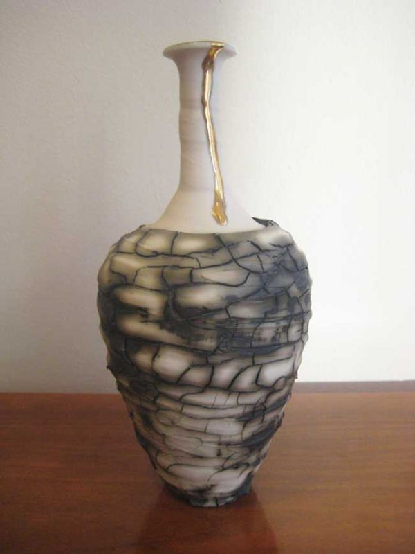 Alex McCarthy, Textured Vase With Gold Lustre 1