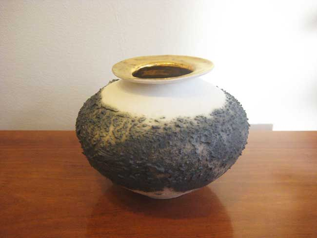 Alex McCarthy, Textured Vase With Gold Lustre 3