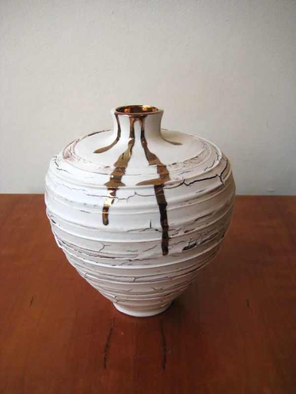 Alex McCarthy, Textured Vase with Copper Lustre Trickle