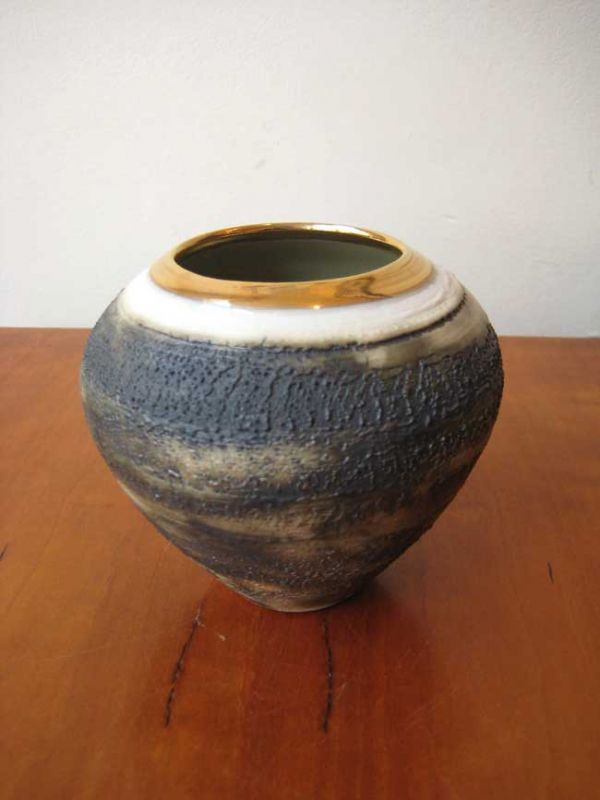Alex McCarthy, Textured Vase with Gold Lustre Highlight