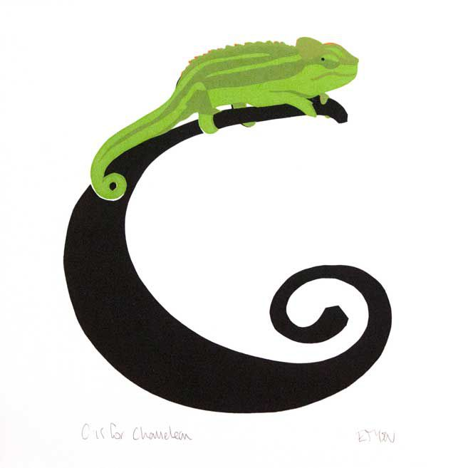Esther Tyson SWLA, C Is For Chameleon (unframed)