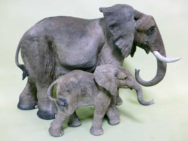 Sallie Wakley, Elephant Cow And Calf