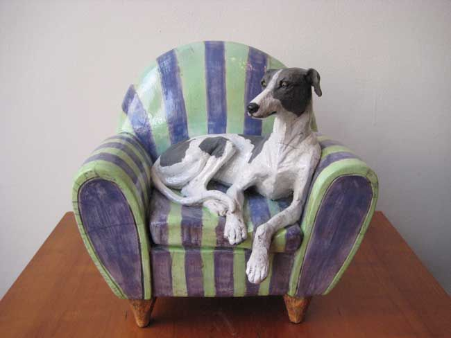 Sallie Wakley, Greyhound On Chair