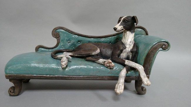 Sallie Wakley, Greyhound On Chaise Longue
