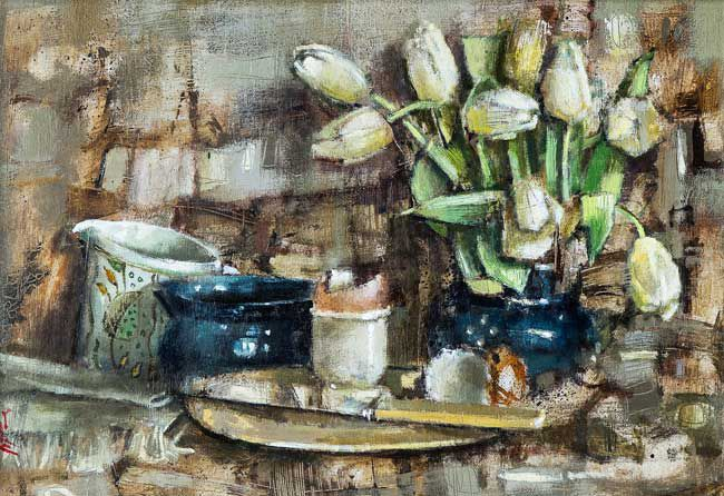 Andrew Douglas-Forbes, Creamy Tulips In Ewenny