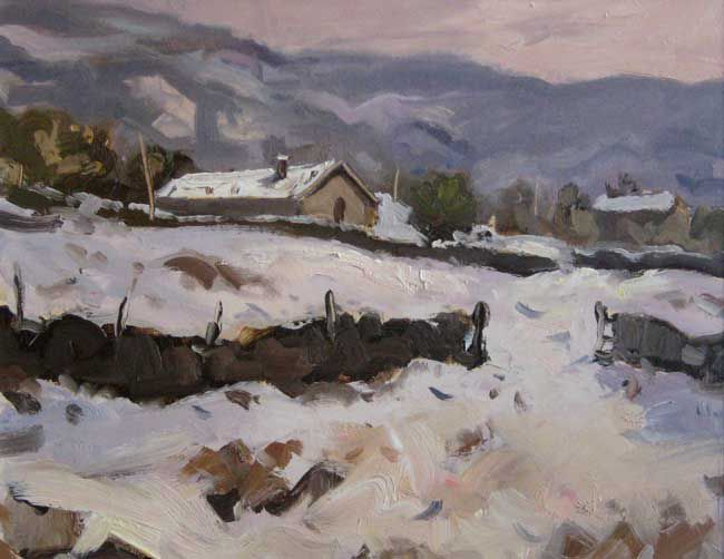 Gareth Thomas (1955-2019), Snow Near Caernarfon